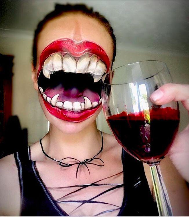 Makeup & Hair Ideas: Special effects fang face makeup for Halloween #facepaintingideas