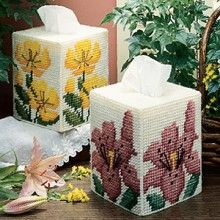 Sundrops & Lilies Tissue Box Covers Plastic Canvas Patterns ePattern