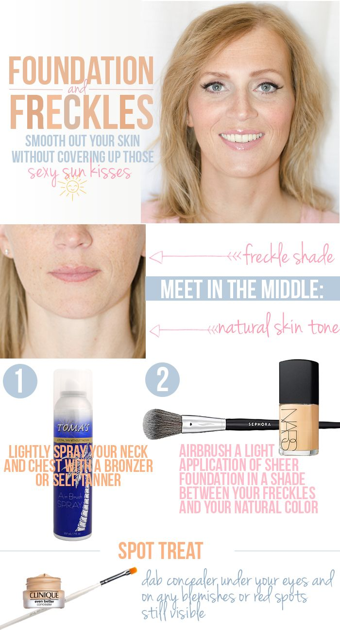 How to get a great makeup look for those with freckles!  Genius tips for picking out your foundation.