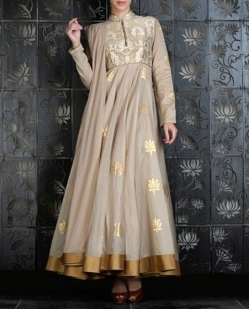 Light Beige Anarkali Set with Signature Lotus Prints