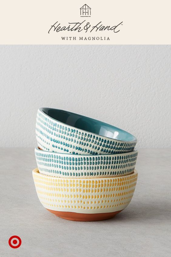 mini bowls are perfect for salsa, nuts and dips, and mix easily with pieces you already have. Stoneware Stripe   #target #joannagaines #chipandjoannagaines #magnolia #hearth&hands #hearthandhands #farmhouse #farmhousestyle #decor #bowls #dishes #rustic #homedecor #ad #tg