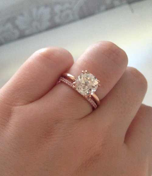 Pink Diamond Wedding Band And Moissanite Solitaire
