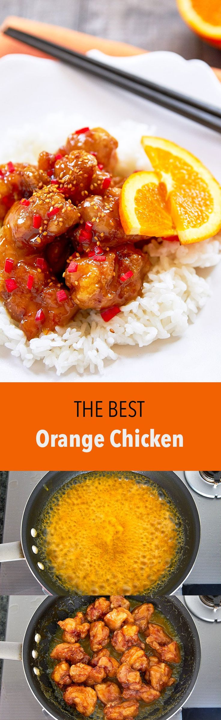 A triple dose of orange and big juicy pieces of ginger marinated chicken are the tricks to my easy Orange Chicken. Way better than Chinese take-out.