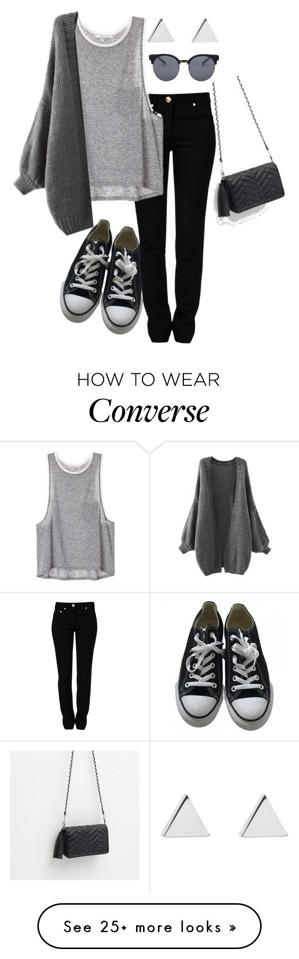 """""""Untitled #95"""" by afrobp on Polyvore featuring Moschino, Converse, Jennifer Meyer Jewelry, Quay and Zara"""