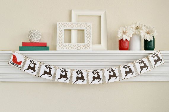 Christmas Decorations, Santa and Reindeer Banner, Merry Christmas Banner, Christmas decor, Reindeer and Sleigh Banner, B006