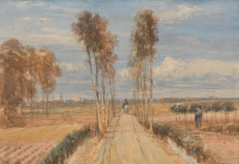 David Cox, 1783–1859, British, The Poplar Avenue, after Hobbema, ca. 1835, Watercolor, gouache, and black chalk on moderately thick, moderately textured, beige, wove paper, mounted on, medium, slightly textured, beige, wove paper, Yale Center for British Art, Paul Mellon Fund