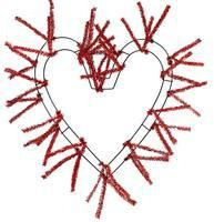 metallic red heart shaped work wreath frame measures 18 across the wire and can