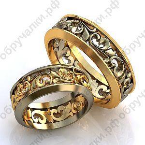 44000 руб Недорогие свадебные кольца из комбинированного золота с объемным растительным узором изготовление на заказ