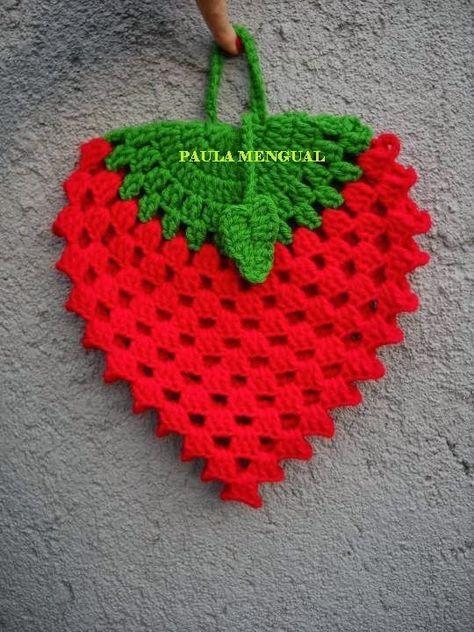 Paula Mengual Tejidos de Autor: Tutorial Agarradera de frutilla (Crochet)
