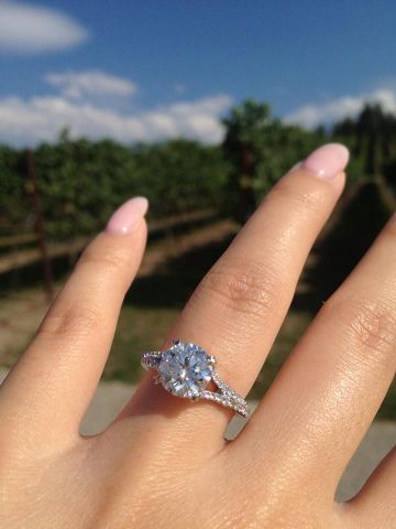 Diamond engagement ring by Leon Megé shared by jennified. I want it with a princess cut diamond!