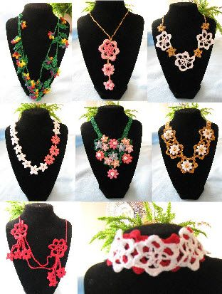 3 Motifs In 8 Necklaces Crochet Pattern #chrochet flower jewelry #Afs 7/5/13