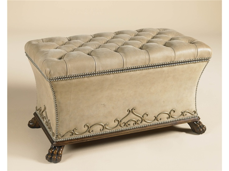 Maitland Smith Living Room Jacarta Sand Leather Tufted Bench, Mahogany Lion  Paw Feet,