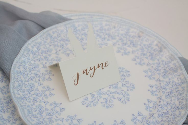 Bronze ink on bride-provided laser cut rabbit ear place cards - perfect for a woodland wedding!