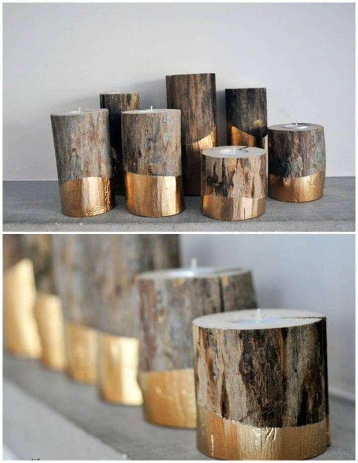 Gold Dipped Log Candle Holders 50 Diy Candle Holder Ideas How To Make Candle Holders Creativ Concrete Candle Holders Log Candle Holders Diy Candle Holders