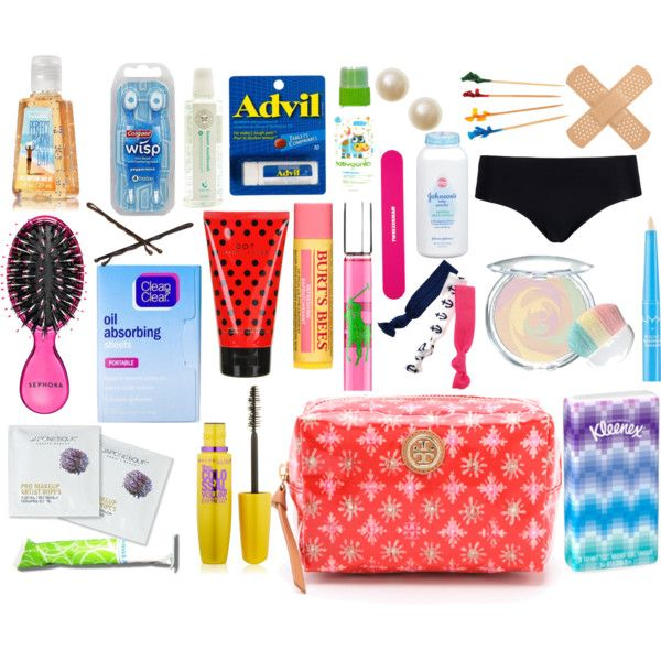 School Emergency Kit by sweetprep101 on Polyvore featuring CALIDA, Twistband, Goody, NYX, Ralph Lauren, Burt's Bees, Marc Jacobs, Tory Burch, Sephora Collection and Tweezerman