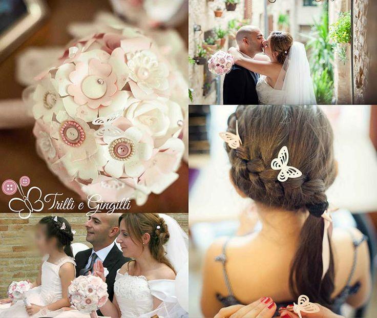 Set coordinato per matrimonio con bouquet di carta rosa e bianco, bottoniera e mollette a forma di farfalle per la damigella. Vuoi anche tu un bouquet così? Vai su: www.trilliegingilli.com