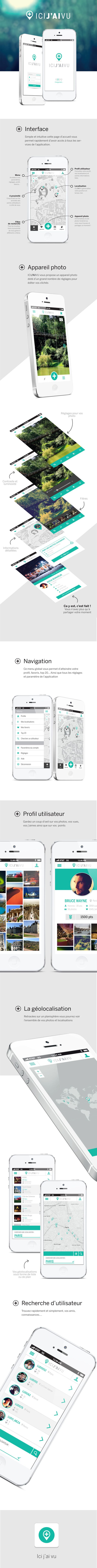 Application ICI J'AI VU by Nathalie Troucelier, via Behance #mobile #ui #uidesign #uxdesign #mobileappui #UIUX#webdesign #color #photography #typography #ResponsiveDesign #Web #UI #UX #WordPress #Resposive Design #Website #Graphics