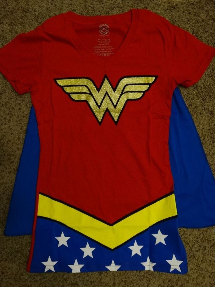 Wonder Woman Glitter Dc Comics Costume With Cape Womens V-Neck T-Shirt #WonderWoman #GraphicTee