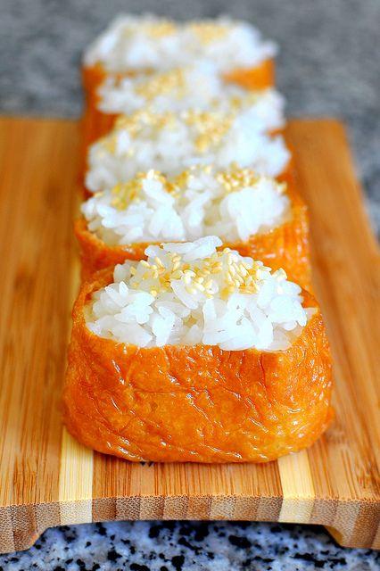 Simple Recipe: Inarizushi (Brown Bag Sushi), Sushi Rice Packed in Seasoned Aburaage Fried Tofu Pouches (No Fish, Vegan Sushi) お稲荷さん