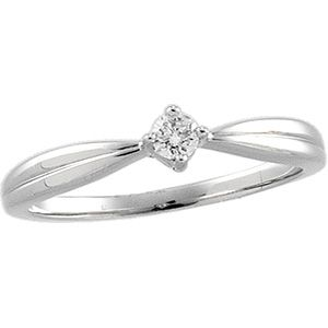Diamond Solitaire Ring in 14k White
