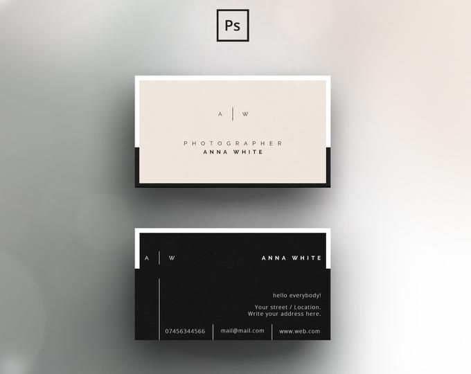 Business Card Template For Adobe Photoshop Psd File Etsy Business Card Template Minimal Business Card Business Card Design