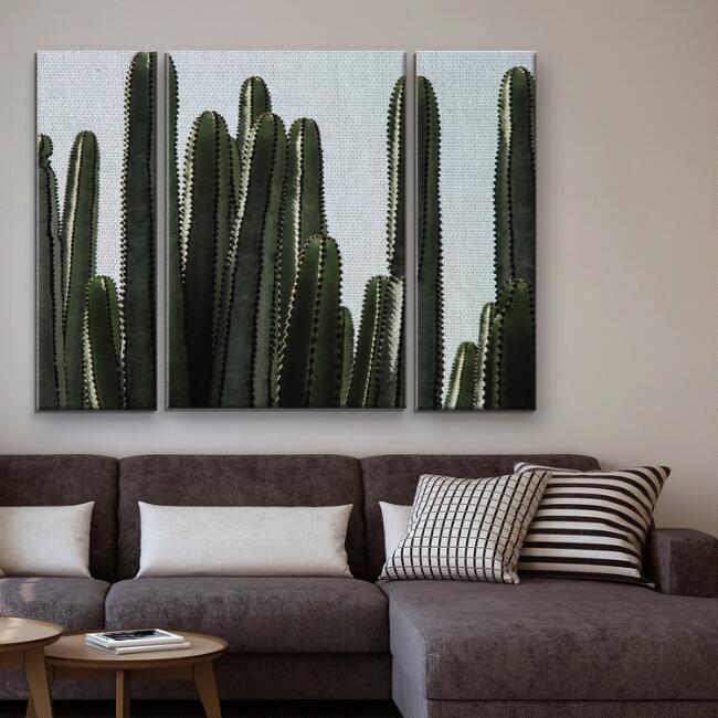 Desert Detail Triptych Canvas Wall Art 3 Piece Cactus Wall Art Triptych Canvas Ranch Decor