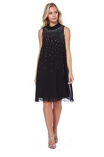 767c723d4c2 Roman Originals Women s Black Gem Embellished Diamante Loose Chiffon Little  Black Dress - Ladies Formal Evening