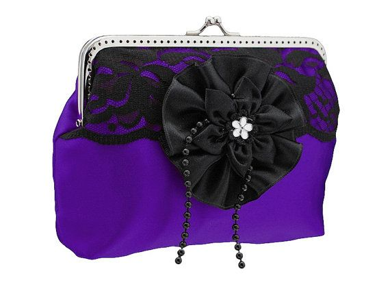 purple and black frame clutch bag purse lace by FashionForWomen