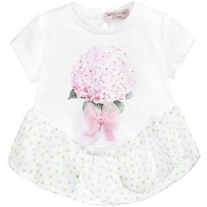 春夏2016【モナリザ】水玉あじさい花柄フリル裾・半袖Tシャツ♪ 初夏を感じる美しいアジサイ・プリントが魅力のベビー・Tシャツ♪  爽やかなホワイト生地に優しいピンク・フローラルが映える  ベビー服ながら大人っぽさも感じられるフェミニンな一着です。  キラキラ光るラインストーンがあしらわれたお花のプリントに  品に溢れるオーガンジー素材のリボンがポイント☆  また裾部分は可愛いグリーン・ドットのフリル仕上げでとってもガーリーなデザインに。  カジュアル〜セミフォーマルまで幅広いシーンにてお召しいただけるこちらのアイテムは  春夏生まれのお子様へのご出産祝いとしても最適なベビー・トップです。