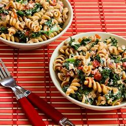 Kalyn's Kitchen: Vegetarian Whole Wheat Pasta Recipe with Fried Kale, Tomato Sauce, and Goat Cheese