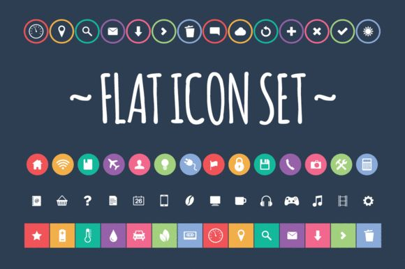 Check out Flat Icon Set by Vintage Design Co. on Creative Market