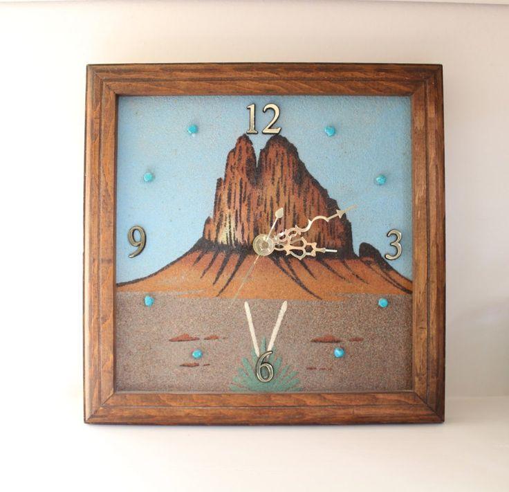 Vintage Southwestern Clock   Desert Sand Art Decor   Turquoise Nuggets   Vintage Clock   Handmade Clock   Sand Art   Southwestern Decor