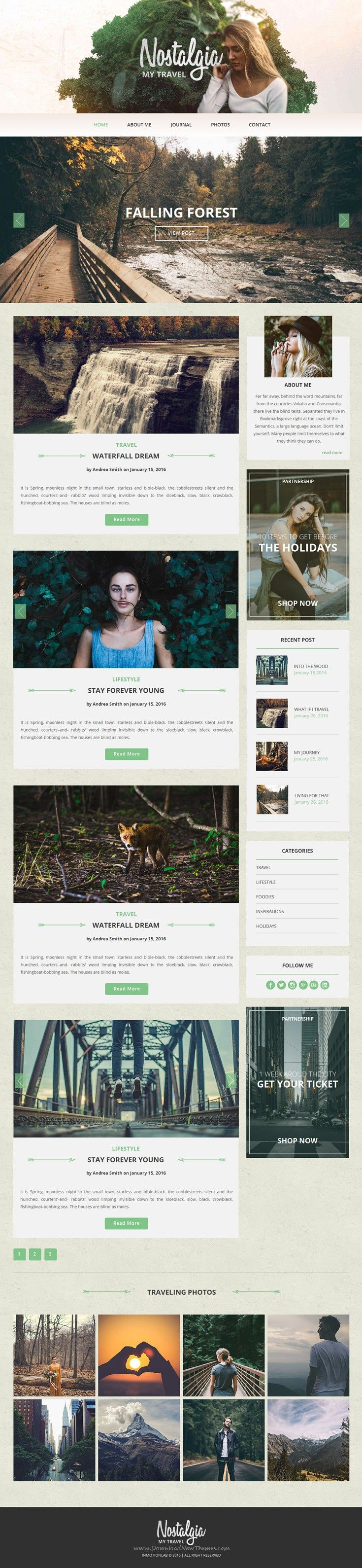 Nostalgia is wonderful Adobe Muse #template for multipurpose fashion, food and #travel #blogs. Download Now!