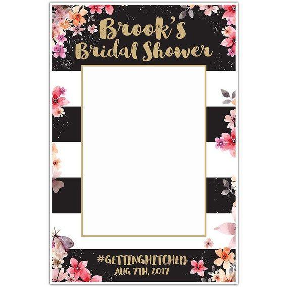 Pink Striped Birthday Bridal Shower Selfie Frame Photo Prop Poster
