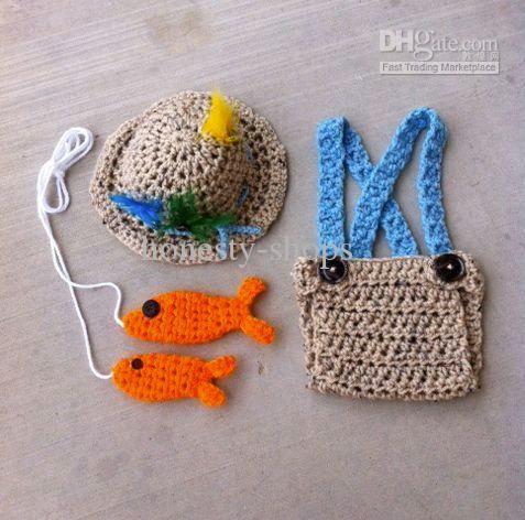 crochet baby fisherman outfit free   Crochet newborn fishing outfit, Fly fishing hat, Photo prop, Fishing ...