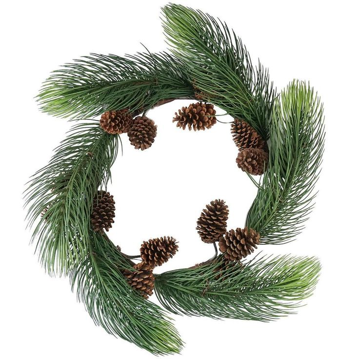 """Allstate - 30"""" Long Pine Needle Artificial Christmas Wreath With Pine Cones -  