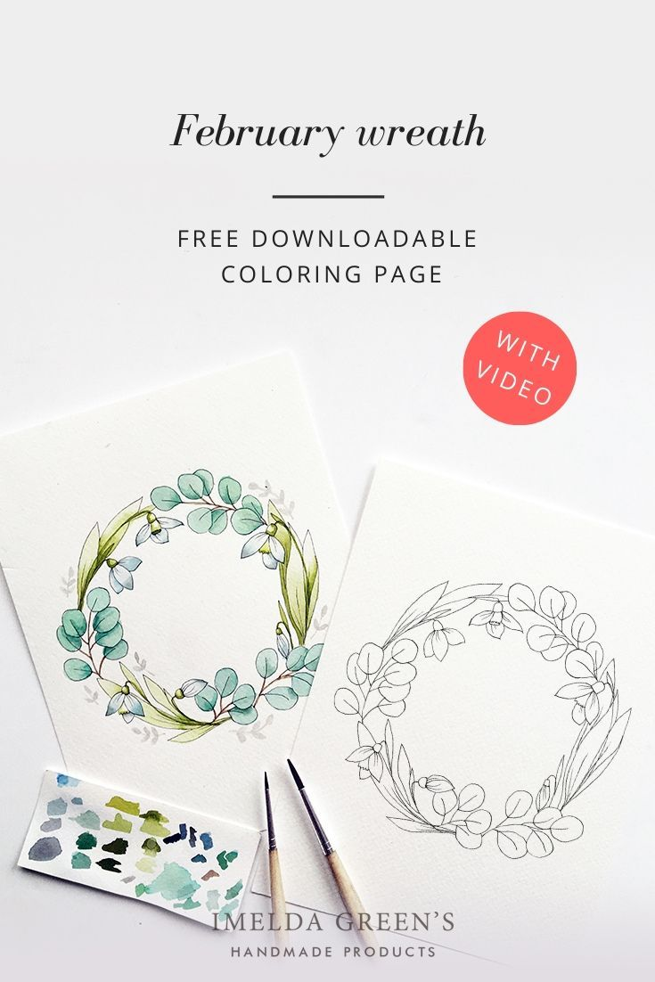 February Floral Wreath Downloadable Colouring Page 2 Floral