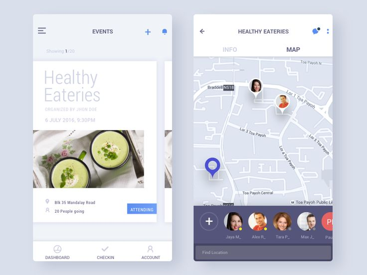 Event screen for an health & lifestyle app.