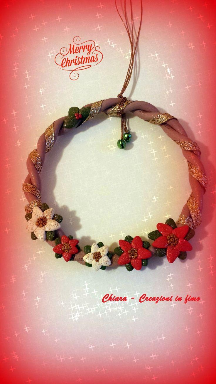 Idea regalo Natale Ghirlanda in fimo natalizia con stelle di Natale rosso : Accessori casa di chiara-creazioni-in-fimo