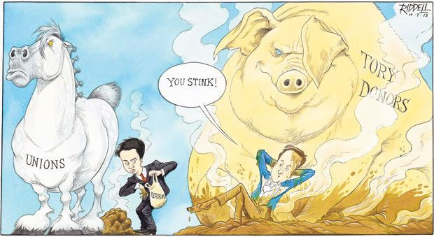 14 July 2013 - Riddell on the donor scandal in politics. Whilst Milband is using the excrement of its donors for reform, Cameron is rolling around in the 'pig filth' of his donors.