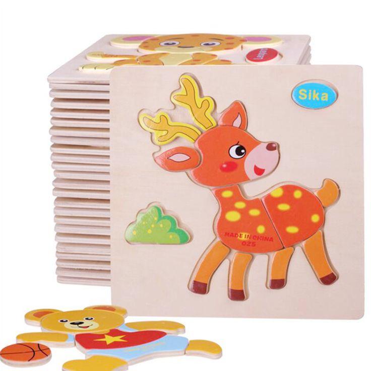 En bois 3D Puzzle Tangram Bord de Puzzle En Bois Jouets Pour Enfants Animal de Bande Dessinée Puzzle Intelligence des Enfants Jouets Éducatifs