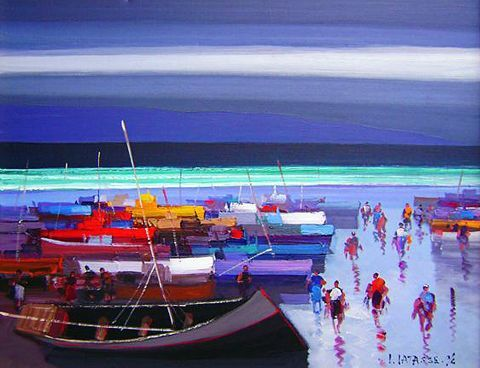 Botes Pesqueros  acrylic on canvas  30 by 40 inches