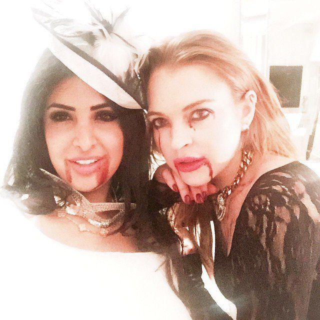 Pin for Later: 15 Celebrity Halloween Costumes That Came From Your Nightmares Lindsay Lohan as a Vampire From True Blood Listen, anytime someone is bleeding from the eyes, it's going to be a little scary.
