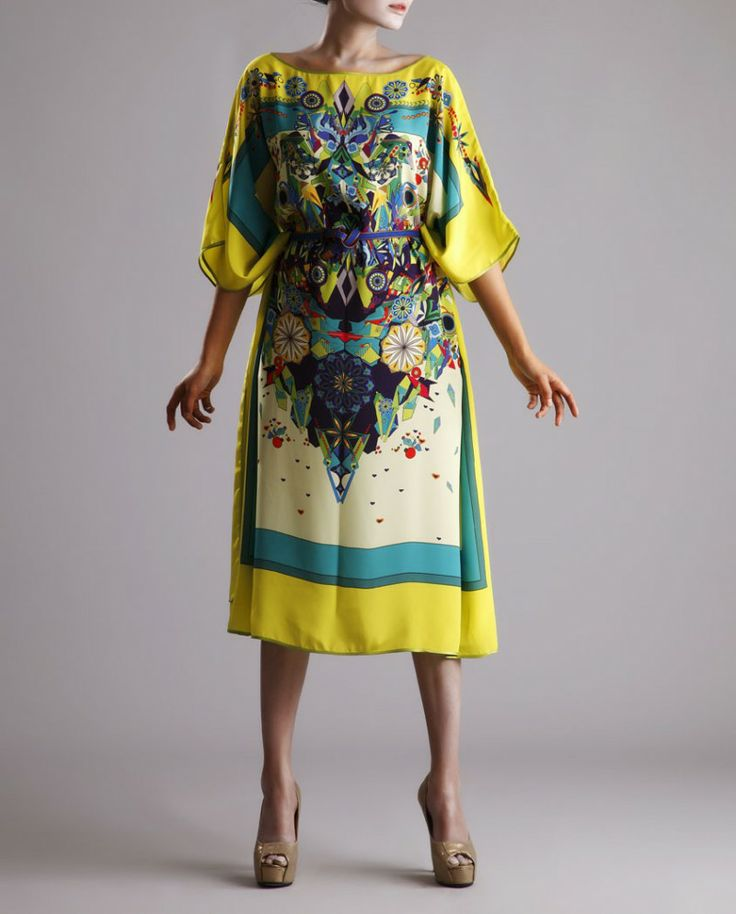 Ivory and Yellow Printed Kaftaan #Dress #Tunic #Bohemian #Ethnic #Indian #IndoChic