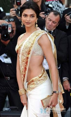 indian roots white sarees   Deepika Padukone @ Cannes Film Festival by Annick Gagnon