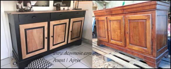 bahut merisier louis philippe relook avant apr s chic contemporain et tendance noir bois. Black Bedroom Furniture Sets. Home Design Ideas