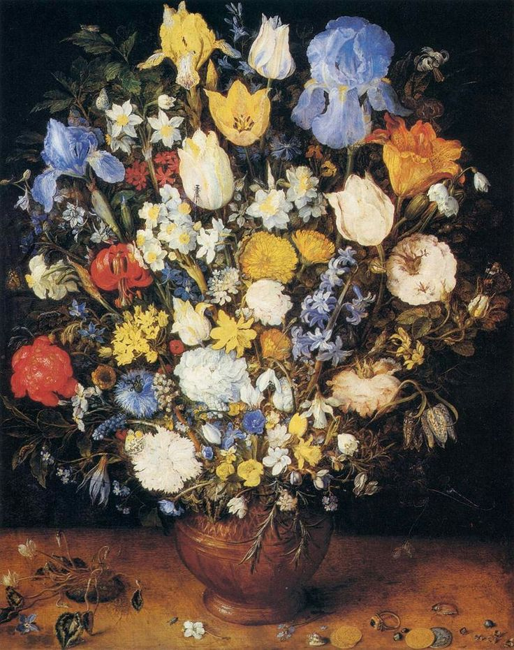 Bouquet in a Clay Vase 1599-1607 Oil on wood, 51 x 40 cm Kunsthistorisches Museum, Vienna