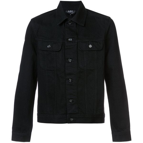 A.P.C. Benjamin denim jacket (410 CAD) ❤ liked on Polyvore featuring men's fashion, men's clothing, men's outerwear, men's jackets, black and mens cotton jacket