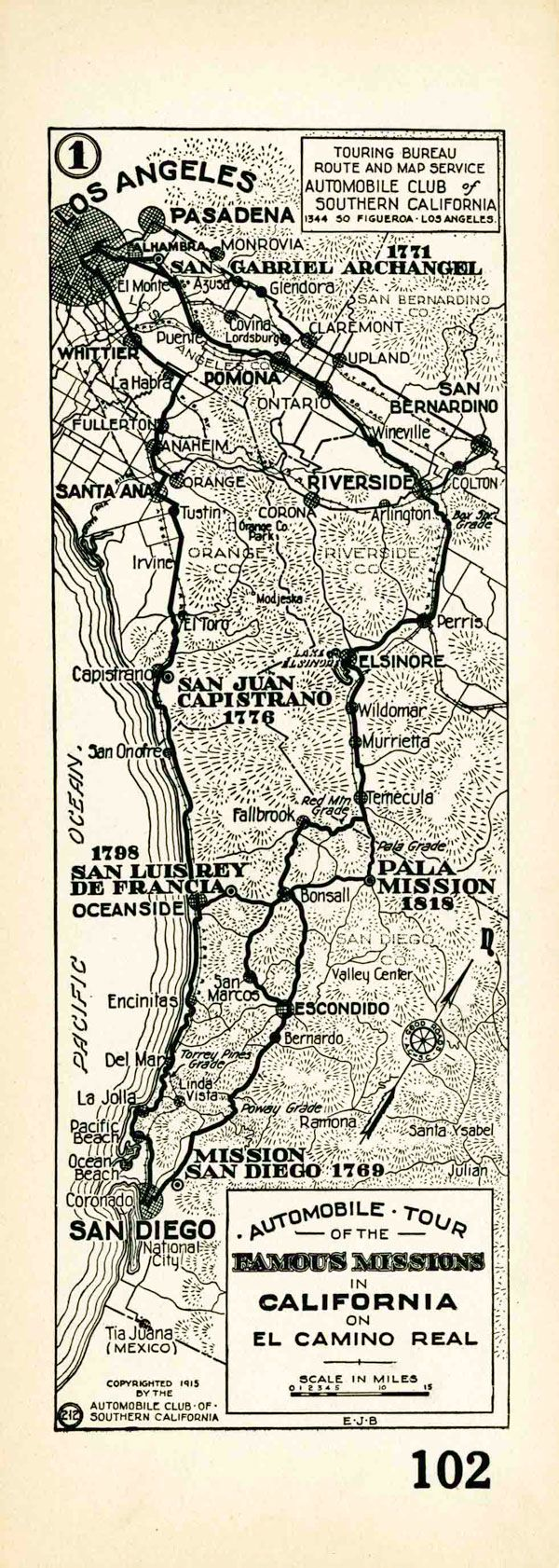 1915 auto club strip map showing the route of el camino. Black Bedroom Furniture Sets. Home Design Ideas