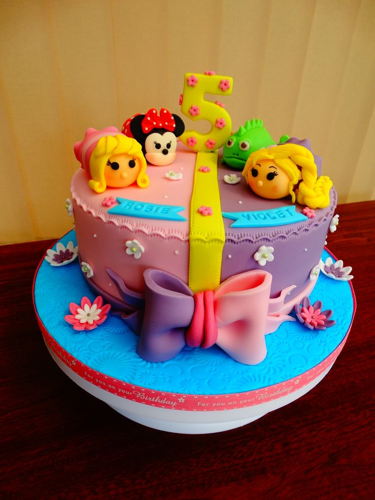 Tsum Tsum Squishy Theme Cake with Aurora, Minnie Mouse, Pascal and Rapunzel xMCx Kids Birthday ...